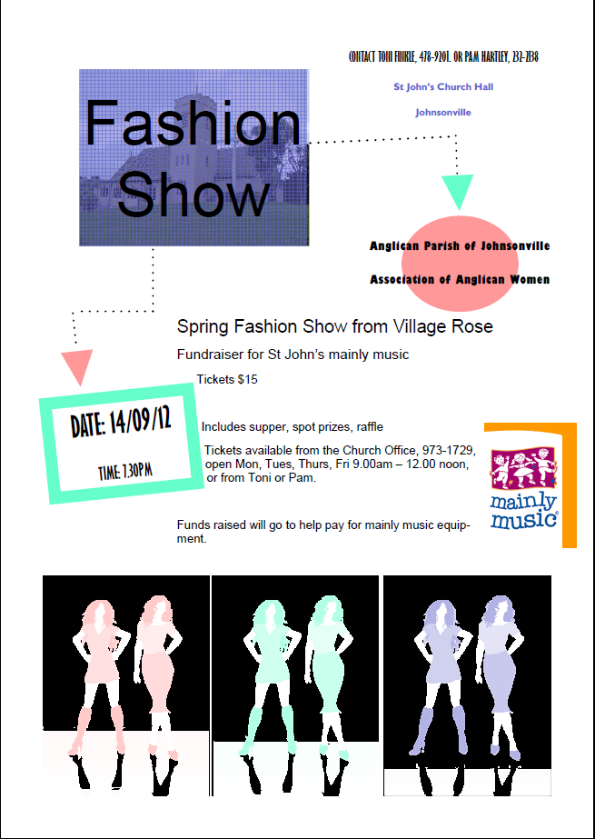 Poster for fashion show contains same information as post with graphics