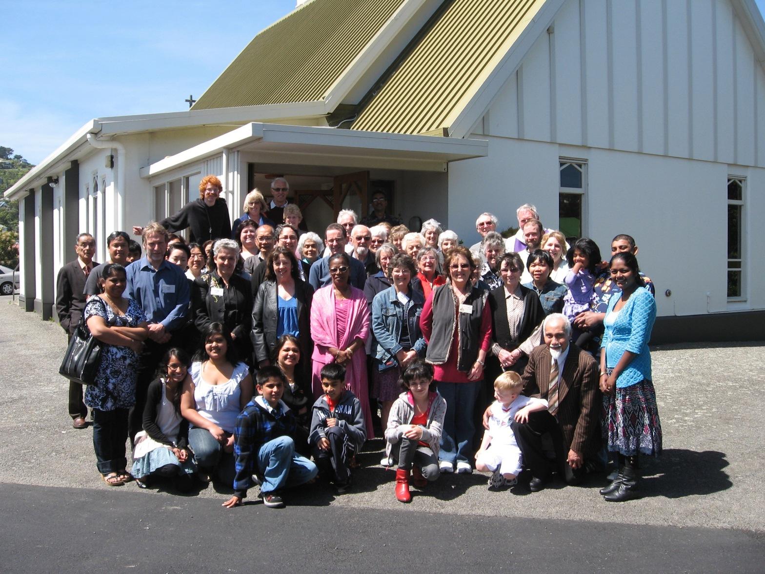Congregation standing outside St John's church