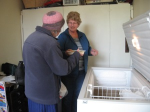 Visitor selects an EZEE meal from the freezer