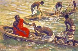 African painting of Peter on his knees in the fishing boat with Jesus after the big catch