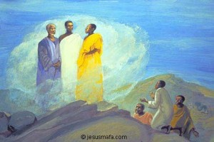 African painting of Jesus with Moses and Elijah and disciples kneeling down