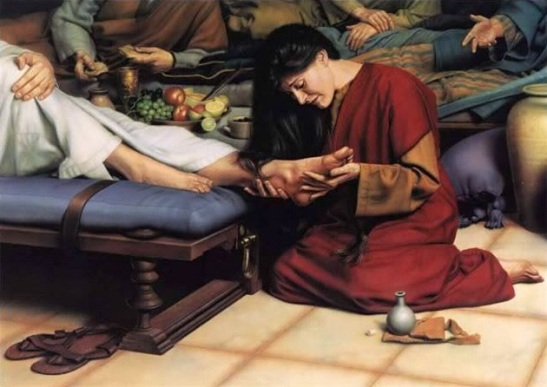 Mary anoints Jesus feet