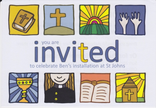 You are invited to celebrate Ben's installation at St Johns